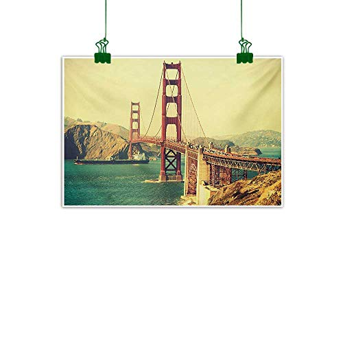 Mangooly Vintage,Canvas Wall Art Picture Old Film Featured Golden Gate Bridge Suspension Urban Path Construction Scenery Abstract Artwork Home Decor Blue Brown W 47