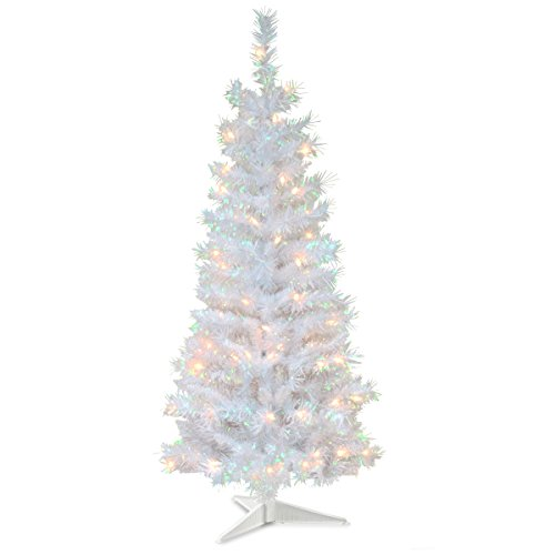 National Tree 4 Foot White Iridescent Tinsel Tree with Plastic Stand and 70 Clear Lights (TT33-313-40)