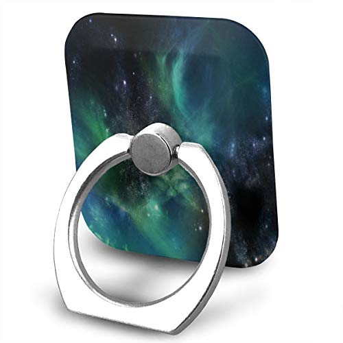Cell Phone Holder Galaxies in Space Green Ring Cell Phone Stand Adjustable 360°Rotation Finger Grip Holder for IPad Kindle Phone X/6/6s/7/8/8 Plus Divi Accessories Desk Android Smartphone
