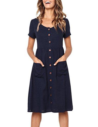 MEROKEETY Women's Summer Short Sleeve V Neck Button Down Swing Midi Dress...
