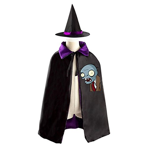 Plants VS Zombies Childrens' Halloween Costume Cloak Print Robe Wizard Hat Cosplay For Kids