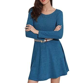 b8e2f9077b768 Leewos 2018 New! Denim Maxi Dress, Women Long Sleeve Pockets Loose Swing T-