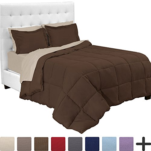 - Bare Home 5-Piece Bed-In-A-Bag - Twin XL Extra Long (Comforter Set: Chocolate, Sheet Set: Sand)