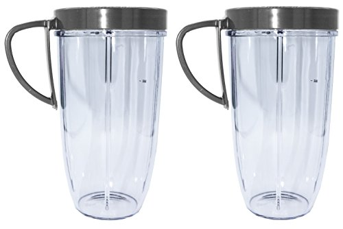 Blendin 2 Pack 32 Ounce Huge Cup Jar with Handled Lip Ring,Fits Nutribullet 600W 900W Blender Juicer