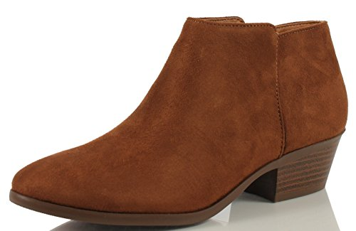 M US Bootie Round Western Cognac Heel Stacked Clay Faux Suede Ankle Soda Women's 85 Toe 1zgOpwq7q