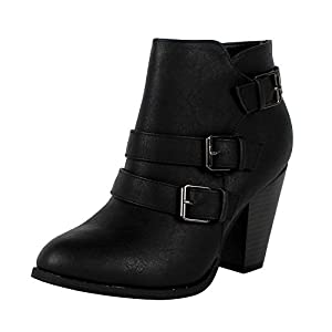 Forever Women's Buckle Strap Block Heel Ankle Booties, Black 7