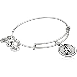 "Alex and Ani Rafaelian Silver-Tone Initial ""A"" Expandable Wire Bangle Bracelet, 2.5"""