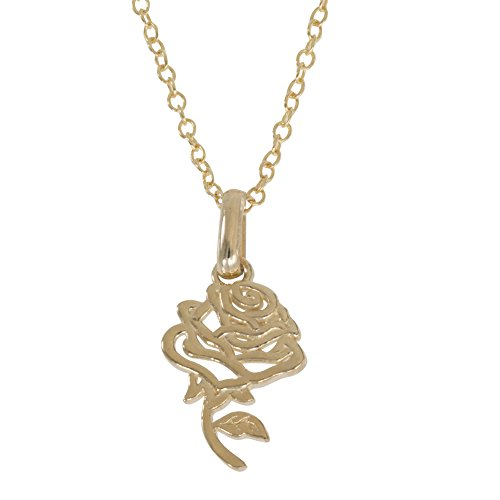 Disney Princess Beauty and the Beast Jewelry for Women and Girls, 14K Yellow Gold Rose Pendant Necklace, 18