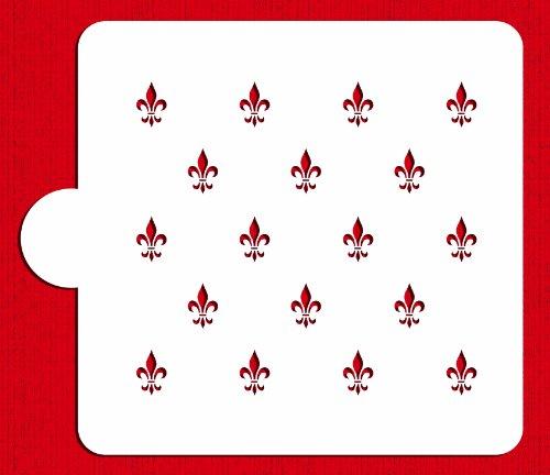 Designer Stencils C157 Fleur De Lis Miniprint Cake Stencil, Beige/semi-transparent