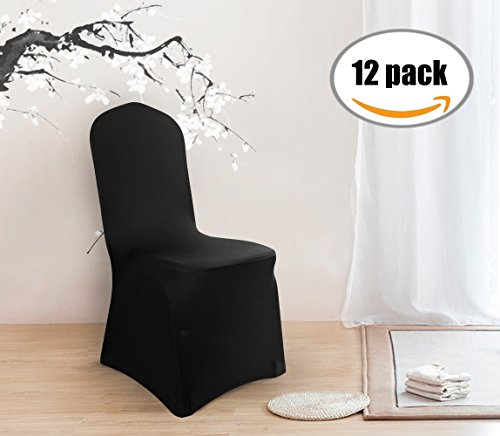 Deconovo Set of 12pcs Black Chair Covers Spandex Banquet Party Chair Covers for Living Room