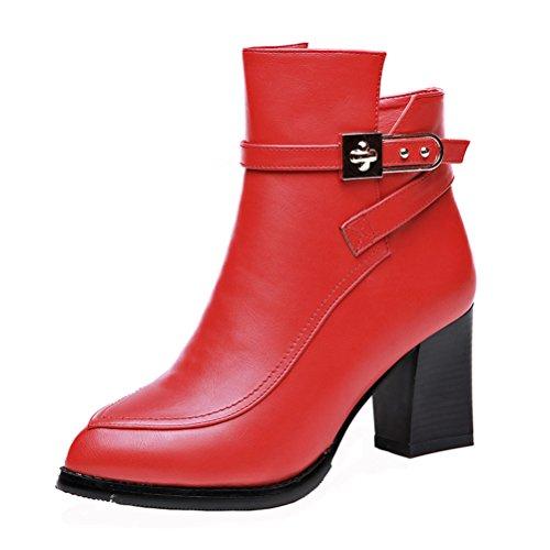 Dunhu Donne Moda Breve Stivale In Pelle Semplice Elegante Scarpa Vestito (nero / Rosso) Rosso