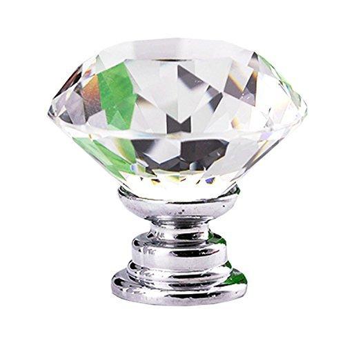 Ecloud Shop 10 piezas de 30 mm Moda Transparencia Diamond Forma Gabinete Knob