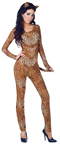 UHC Women's Wildcat Jumpsuit Bodysuit Funny Theme Party Halloween Fancy Costume, S (4-6)