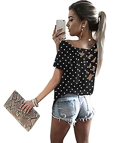Yingkis Women's Summer Cut Out Loose Shirts Criss Cross Backless Top Tee Blouse,Polka Dot S