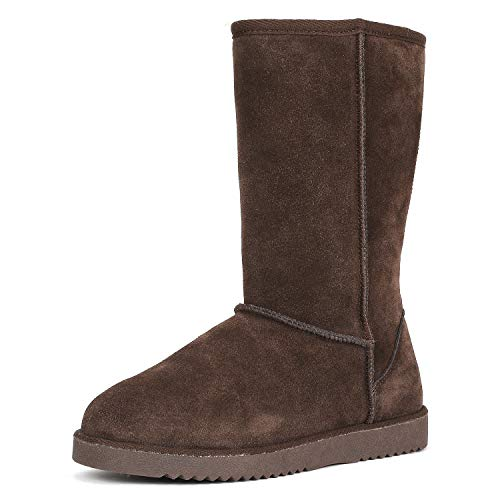 DREAM PAIRS Women's Shorty-HIGH Brown Knee High Winter Snow Boots Size 7 M US