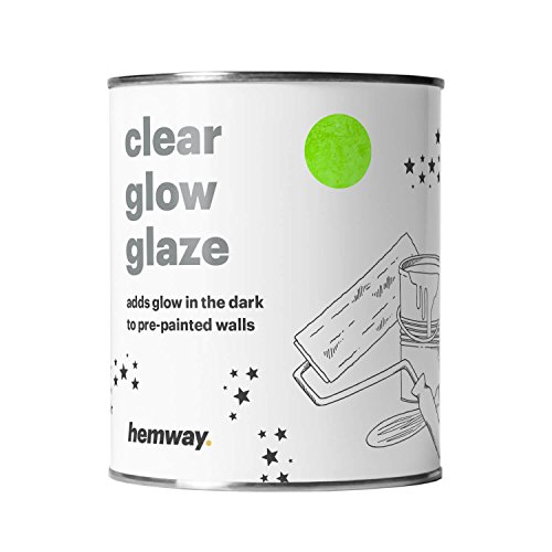Hemway | Clear Glow in the Dark Paint Glaze 1L for Painting Walls Ceilings - Black 1l Outdoor Wall