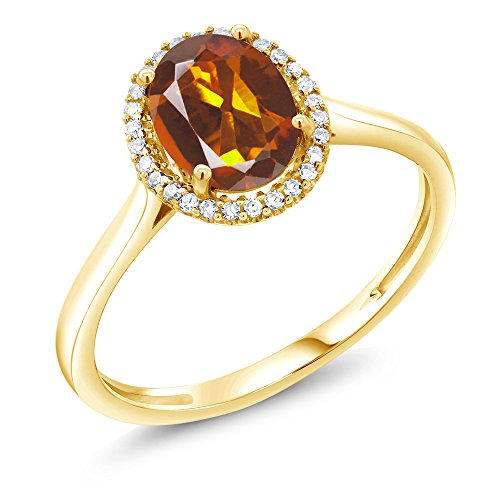 - 1.10 Ct Oval Orange Red Madeira Citrine 10K Yellow Gold Diamond Ring (Size 7)