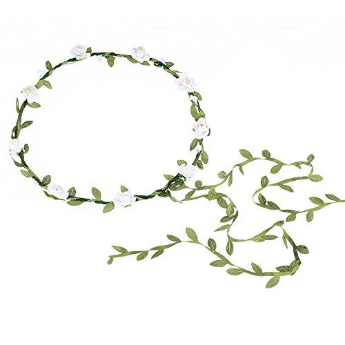 AWAYTR 2Pcs Fashion for Bohemian Style Wedding Bride Bridal Headdress Floral Flower Garland Headwear Headbands (White)