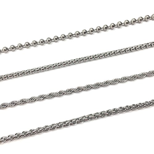 Stainless Steel Necklace Ball Chain, Rolo, Wheat and Rope Bundle (3mm, 24-inch) Surplus Stainless Steel