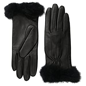Glove.ly Women's Leather Gloves with Rabbit Fur, Black, Medium