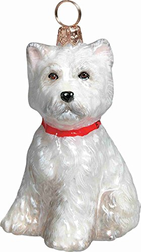 Terrier Dog Christmas Tree Ornament (West Highland Terrier Westie Puppy Dog Polish Glass Christmas Tree Ornament New )