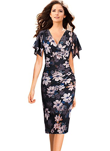 VFSHOW Womens V Neck Flutter Sleeves Ruched Casual Cocktail Faux Wrap Dress 559 FLW S - Ruched Faux Wrap