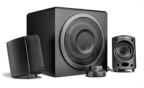 Wavemaster MOODY 2.1 Lautsprecher System (65 Watt) Aktiv-Boxen Nutzung für TV/Tablet/Smartphone/PC schwarz (66202)