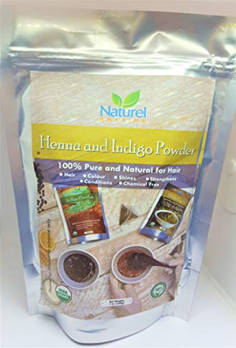 Henna 100gm + Indigo 100gm for Black, Soft Black, Dark Brown, Brown Hair...
