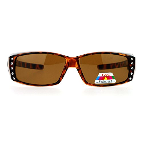 Womens Rhinestone Rectangular Polarized Fit Over Glasses Sunglasses Tortoise Black Tortois Brown