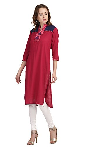 Solid-Pink-With-Shawl-Collar-Jaipuri-Kurti