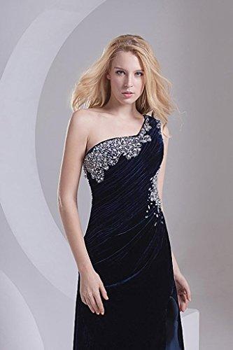Kleid Samt Sexy GEORGE Schwarz mit Rueckenschnuerung Schulter BRIDE Split Ein Vorderseite 4nnzZBqW