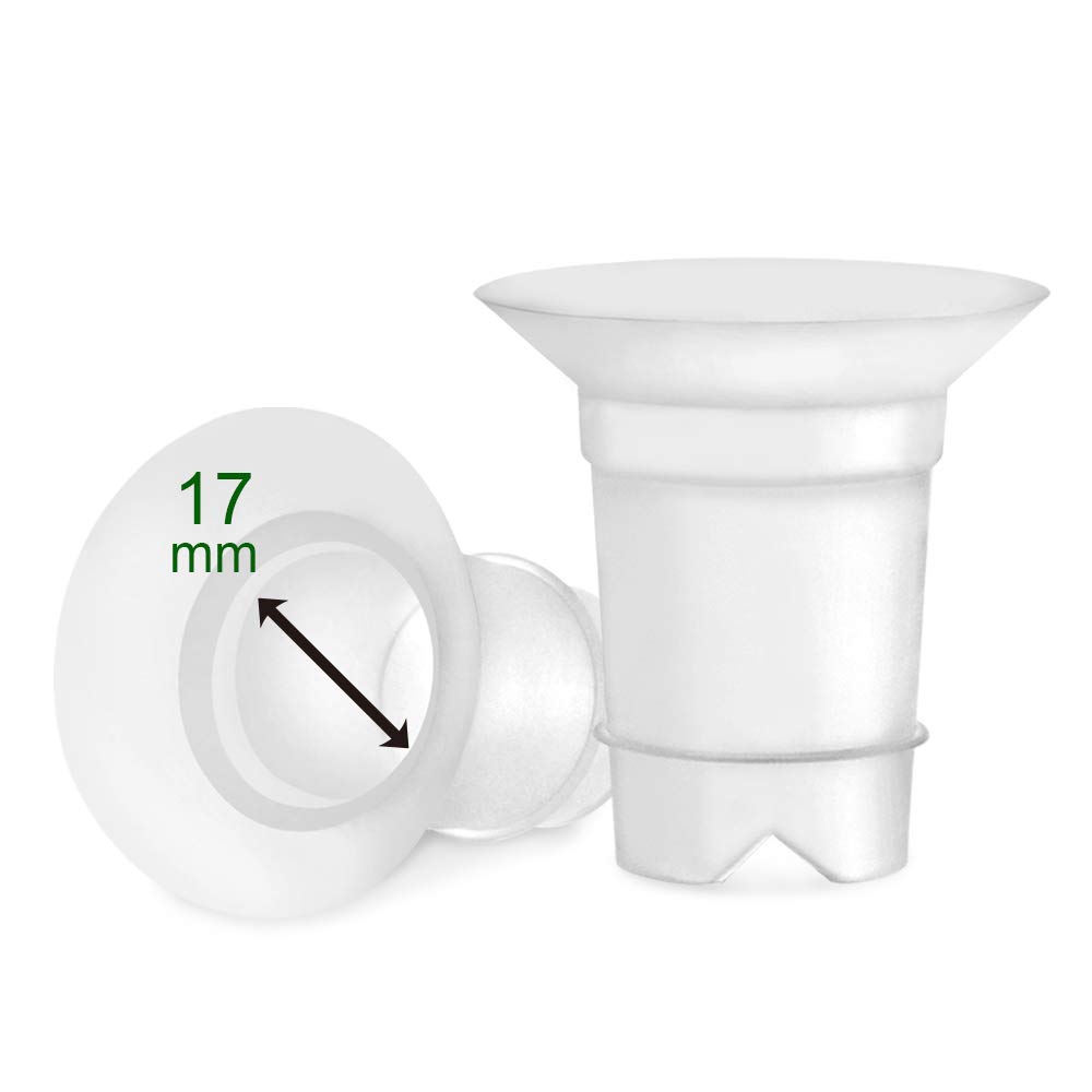 Maymom Flange Inserts 17 mm for Freemie 25 mm Collection Cup. 2pc/Each (semi Transparent)
