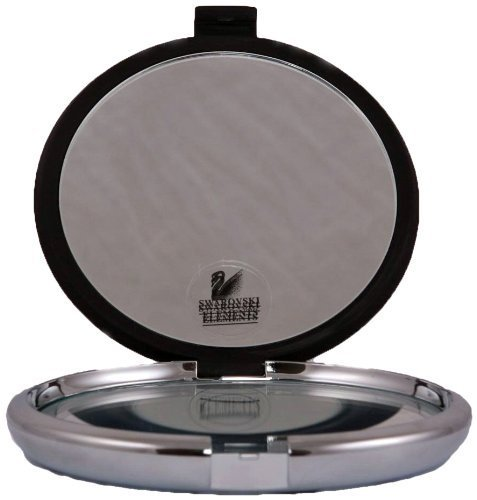 Floxite Soft Black Jeweled 10X/1X Compact Mirror with Clear Crystals by Floxite ()