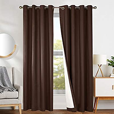 jinchan Brown Curtains Blackout Thermal Insulated Bedroom Living Room  Window Curtains Drapes Grommet Top White Backing One Panel