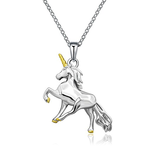 MONBO Silver Unicorn Necklace Gift 925 Sterling Silver Fairytale Unicorn Pendant Necklace For Women, Girls, Kids (Fairytale ()