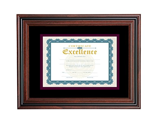 V-LIGHT Rosewood Finish Document Frame with Black Accent (Rosewood Dust)