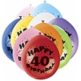 40th Happy Birthday Latex Balloons 10pk