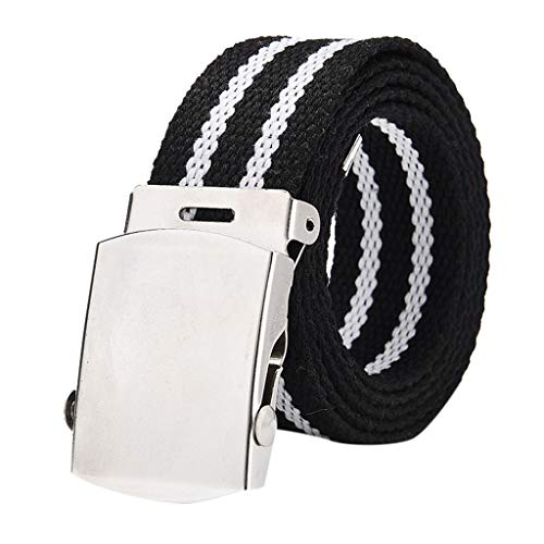 (Women Men Canvas Belt Elastic Braided Enduring Stretch Woven Men Outdoor Military Web Tactical Belt (F))