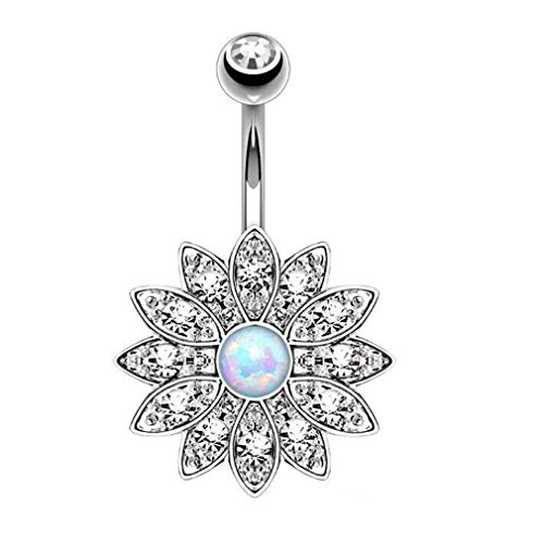 CHASIROMA Stainless Steel Belly Button Rings Barbell Navel Rings Bar for Women CZ Flower Body Piercing (Belly Button Rings Case)