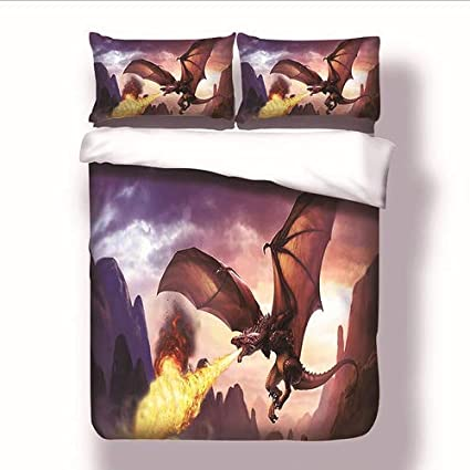 Anne Stokes Fire Dragon Panel Double Bed Duvet Quilt Cover Set Brand New Gift
