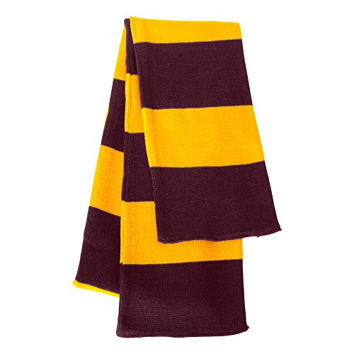 Knit Rugby Striped Team Color Scarf - OS - Maroon/Gold ()