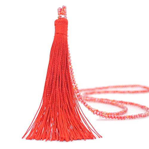 Bohemian Extra Long Strand Necklace Tassel Thread Fringe Crystal Beads Sweater Chain Women Girls Red