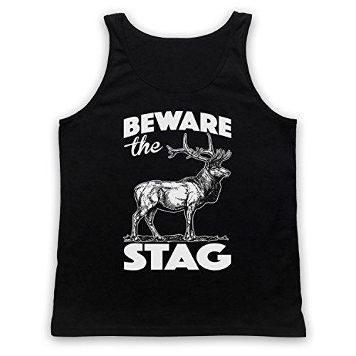 Beware The Stag Stag Do Slogan Camiseta de Tirantes Negro