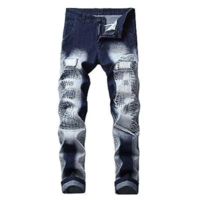 Men's Straight Leg Slimming Fit Distressed Loose Denim Jeans Zipper Trousers Pant Stitching Moto Biker Blue Jeans