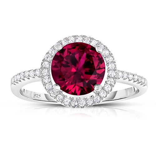 Unique Royal Jewelry Sterling Silver Created Red Ruby with White CZ Helo Jacket Princess Diana Kate Middleton Engagement Ring (11)