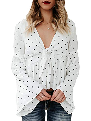 Sophieer Woman Fall Long Sleeved Tie Front Button Up Top Party Wear Blouse with Neck Bow White & Black Dot XL