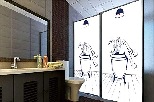 Horrisophie dodo 3D Privacy Window Film No Glue,Wine,Young Beautiful Woman Relaxing on The Bathroom with Glass of Wine Drawing Art,Dark Blue Red White,70.86