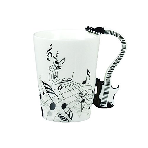 Choholete Porcelain Black Guitar Electric Bass Music Black Note Coffee Cup