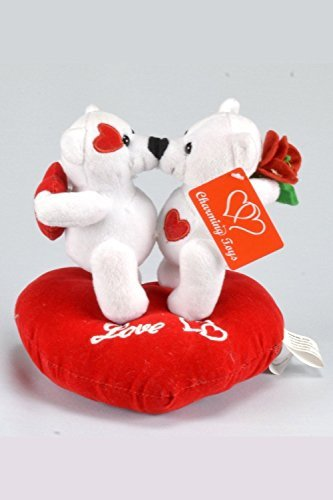 Special Valentine' Day Gift Kissing White Teddy Bears on Heart Pillow, with Voice