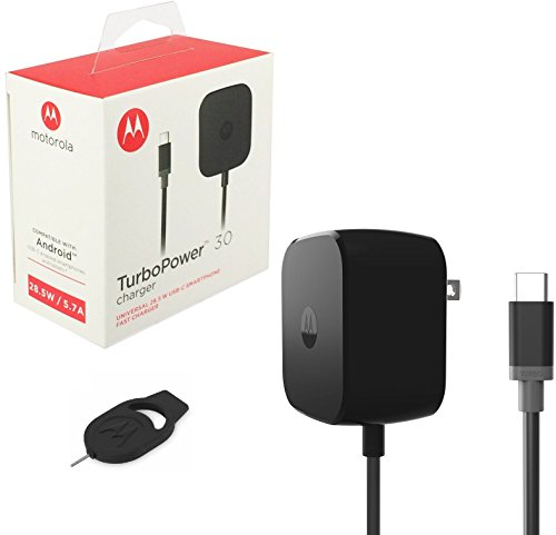 Official Motorola TurboPower 30W Wall/Travel Charger TYPE C For Moto Z Droid;Moto Z Force Droid (Retail Packing) (Motorola Droid Turbo Car Kit compare prices)